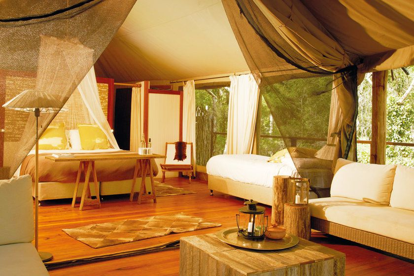 King Deluxe tent interior, Paperbark Camp