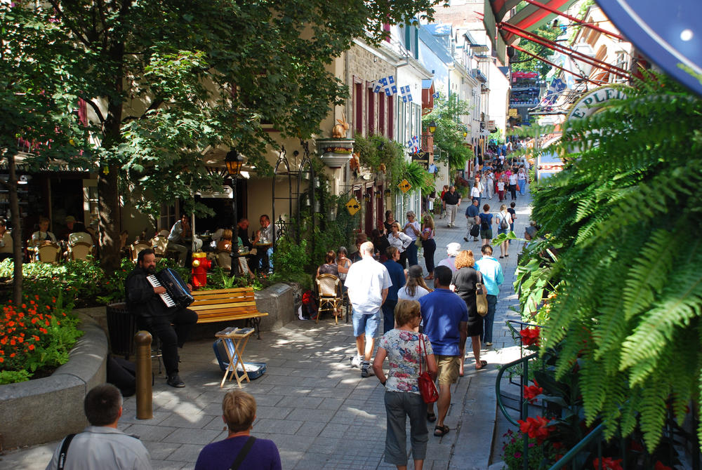 Busy street in Petit Champlain, Quebec City