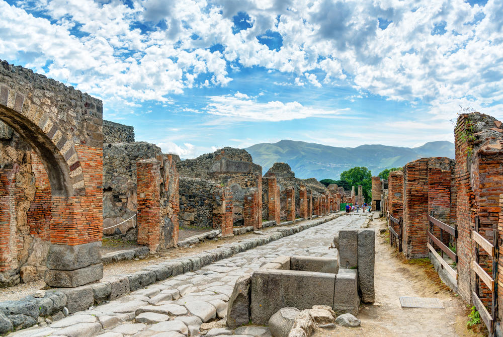 Preserved city streets in Pompeii, Italy