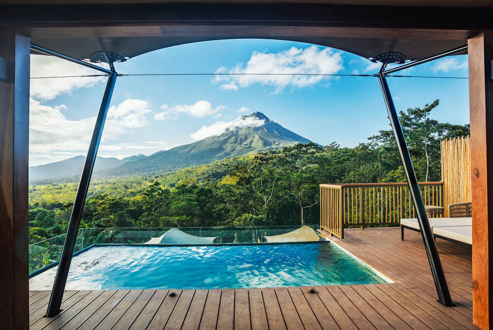 Pool with view of Arenal volcano, Nayara Tented Camp, Costa Rica