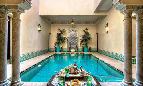 Pool view at Riad Kniza, Marrakech, Morocco