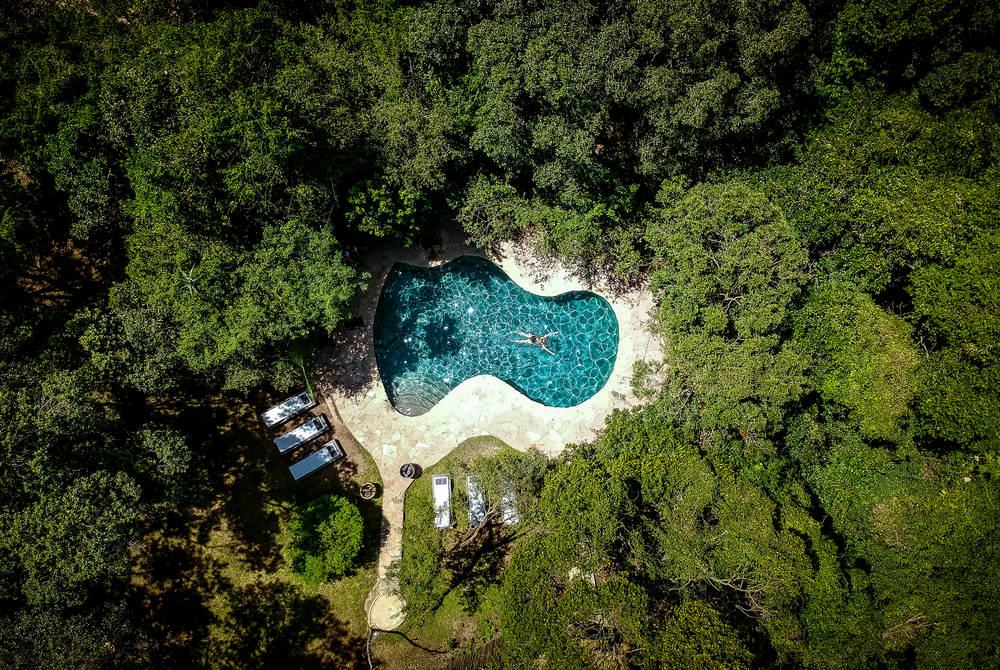 Pool aerial view, Sanctuary Olonana, Kenya