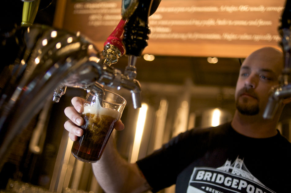 Pouring a pint at Bridgeport Brewing Company, Portland