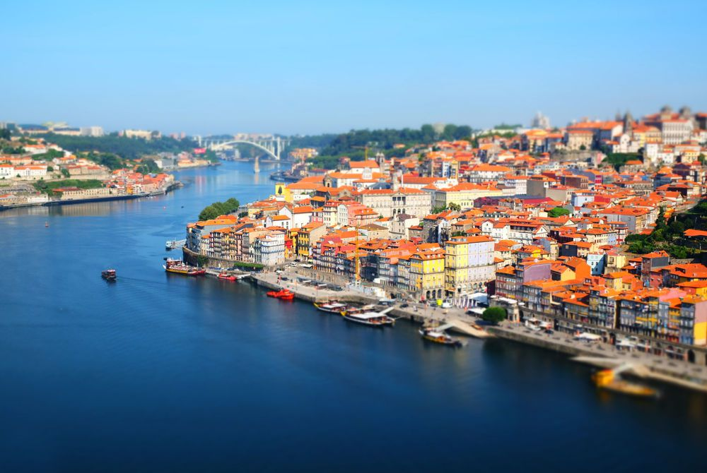 Porto, view of the city and Douro's river early in the morning