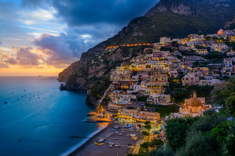 Picture of Positano at dusk in Sorrento, Sicily