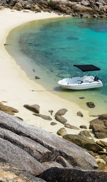 Private beach and dinghy, Lizard Island