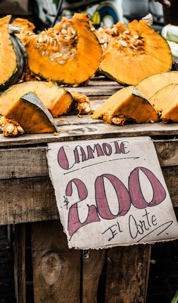 Pumpkins at Mercado Central Market in Santiago, Chile