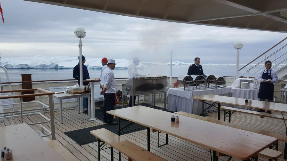 Deck BBQ, RCGS Resolute, One Ocean Expeditions