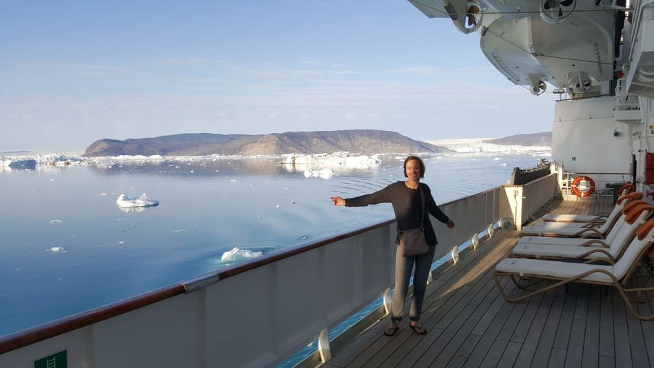 Alison on board RCGS Resolute, One Ocean Expeditions