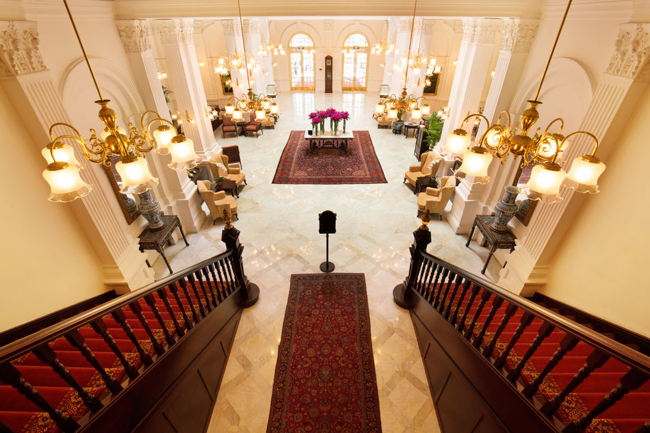 View down the stairs of Raffles Hotel, Singapore