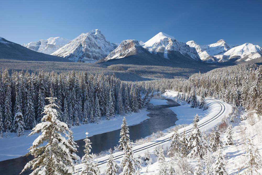 Railway running through Banff National Park
