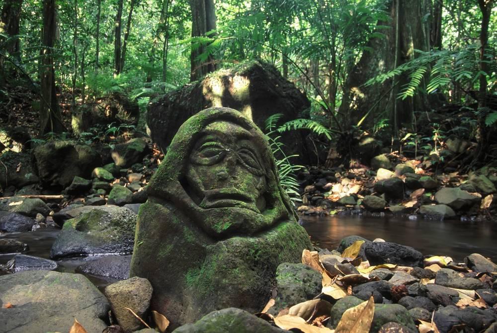 Rainforest stone carving, Moorea