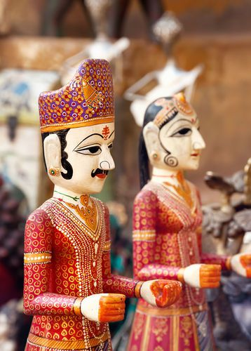 Rajasthani puppets in the Jaisalmer City Palace market