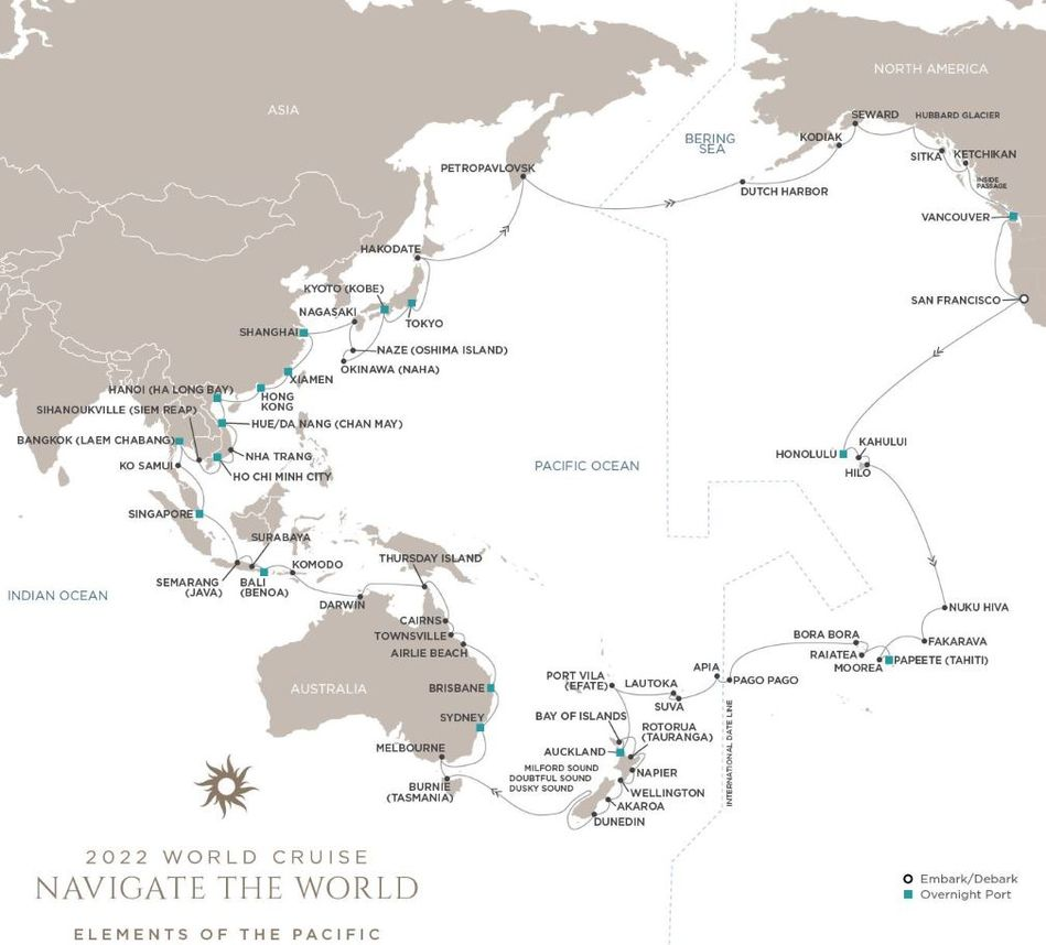 2022 World Cruise Navigate the World itinerary