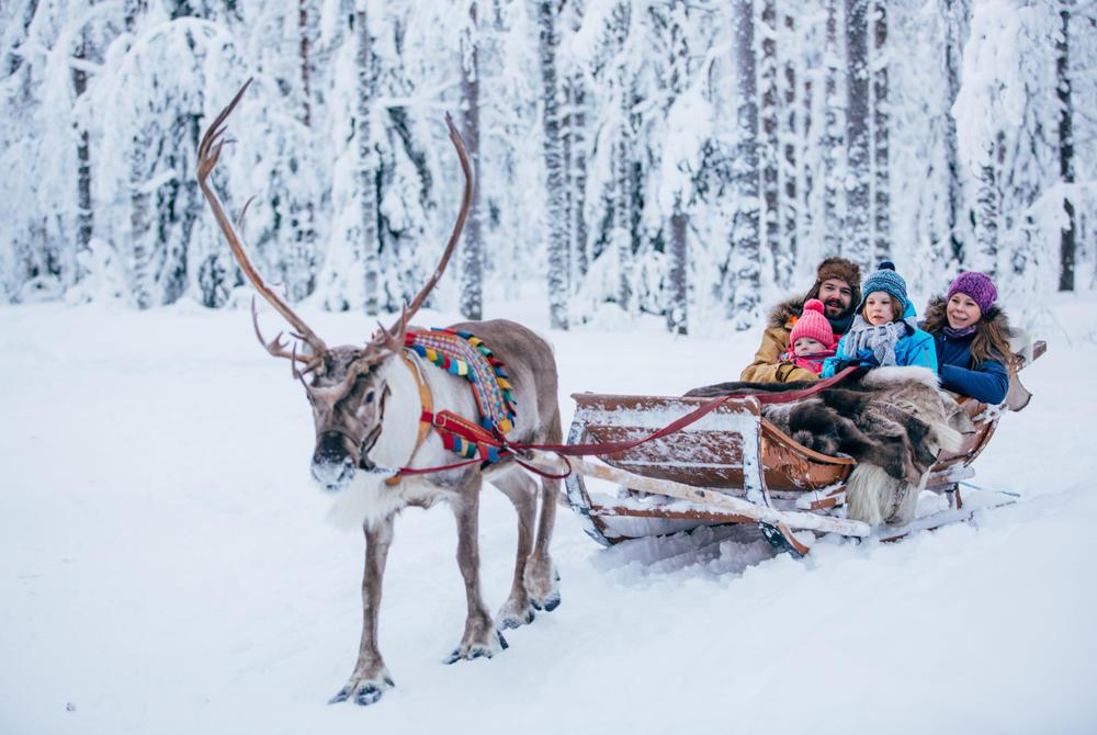 Reindeer sledding at Rovaniemi, Finnish Lapland (Credit: Visit Rovaniemi)