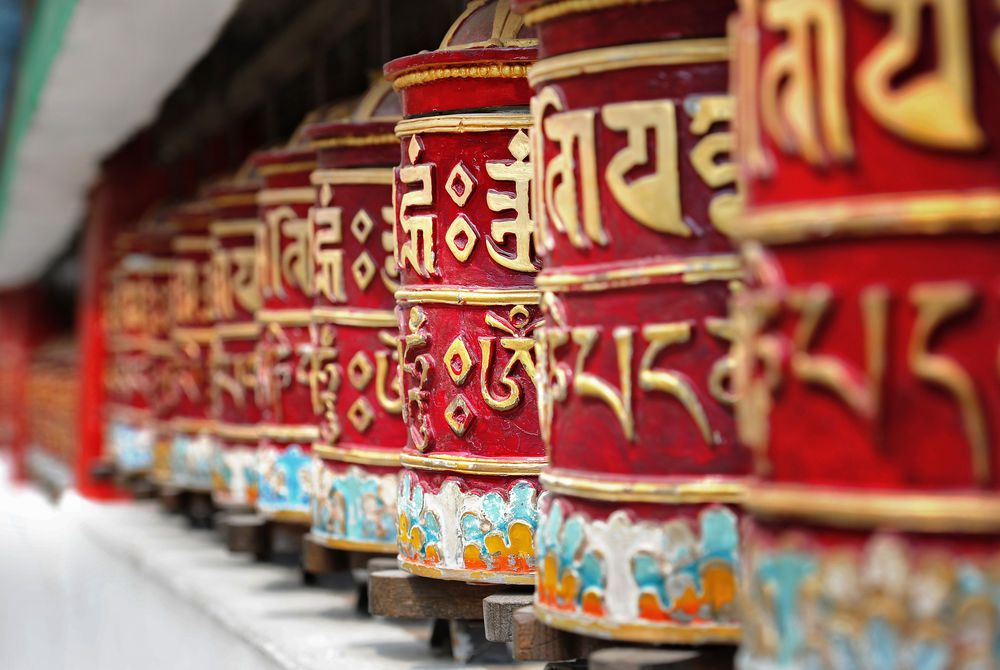Religious prayer wheels
