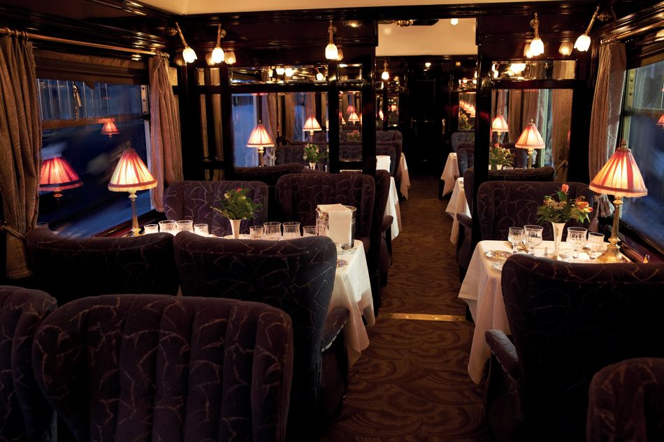 Restaurant car in the Belmond Venice Simplon-Orient Express
