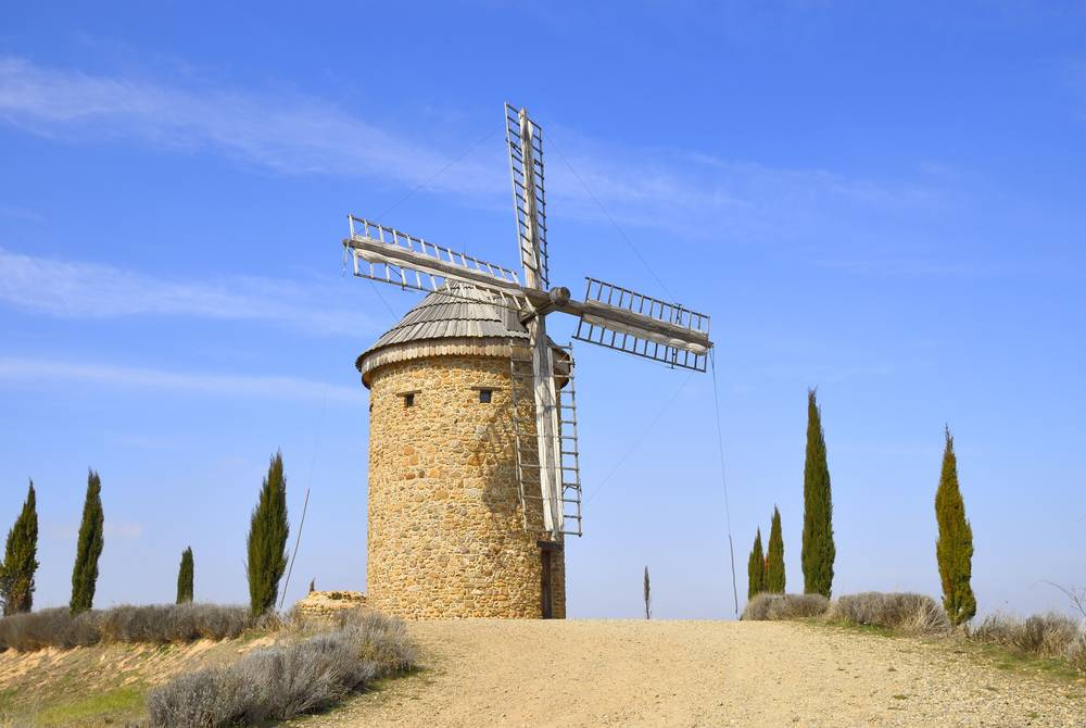 Restored windmill in Ocon, La Rioja