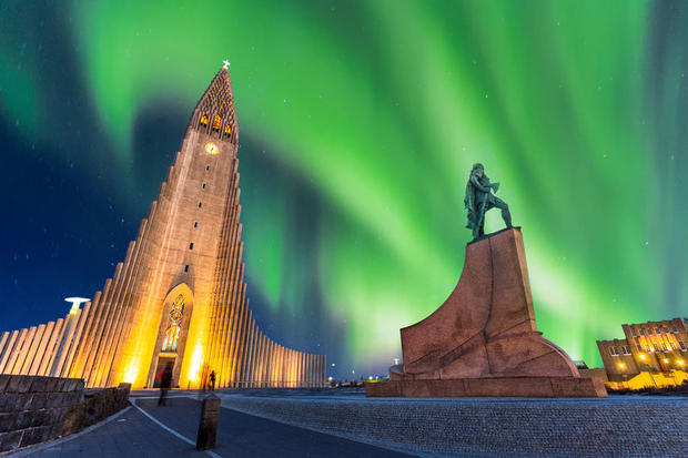 Northern Lights outside the cathedral in Reykjavik