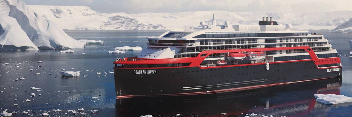 Hurtigruten's MS Roald Amundsen launched in Norway