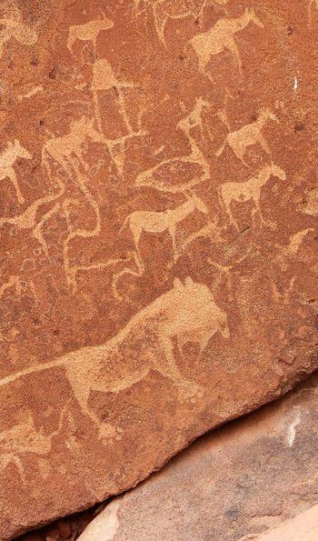 Prehistoric engravings in Twyfelfontein, Damaraland, Namibia