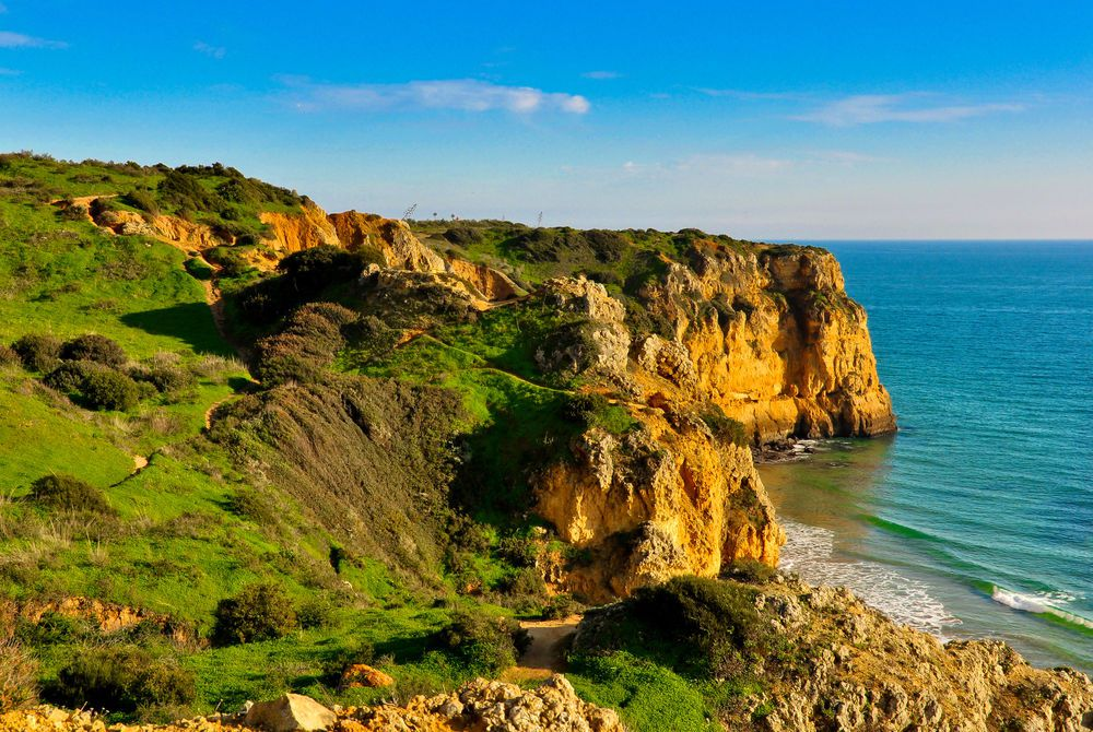 Rocks and Cliffs along the Coast of Lagos, Algarve, Portugal