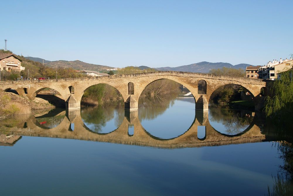 Roman-esque bridge at Puente la Reina on the Santiago de Compostela walking trail, Spain