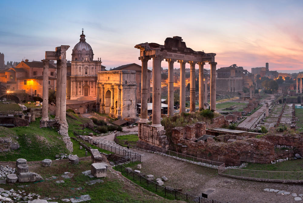 Roman Forum at sunset in Rome