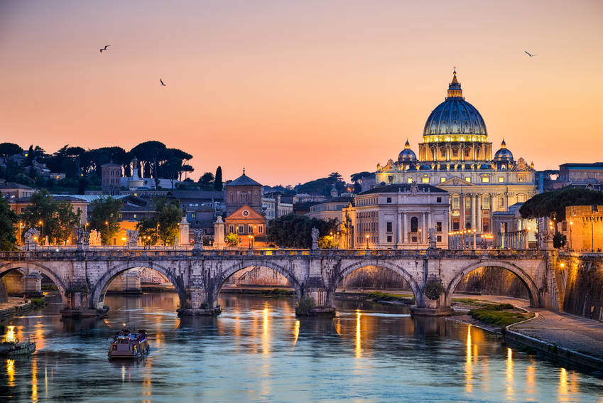 Rome skyline in Italy showing the Tiber river