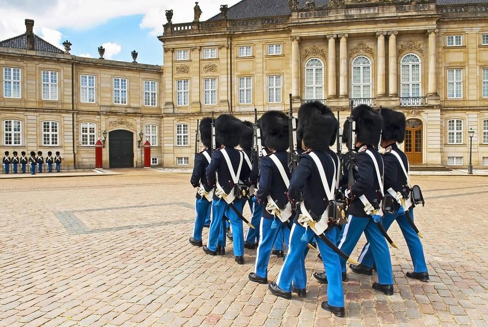 Royal guard in Amalienborg Palace