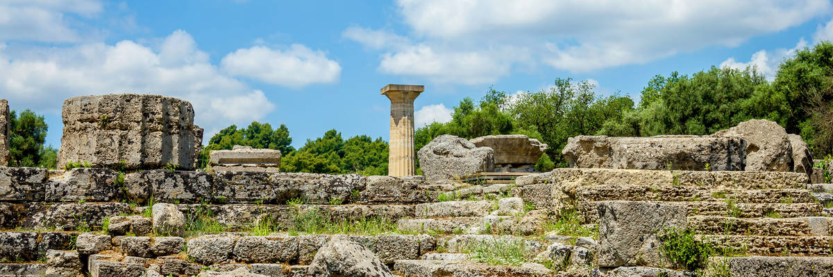 Ruin of Olympia; the birth place of Olympic games in Katakolon, Greece