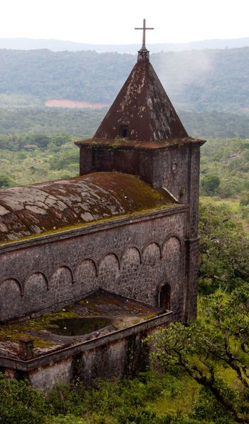 Ruins of a 19th century French Catholic church at Bokor National Park, Kampot in Cambodia