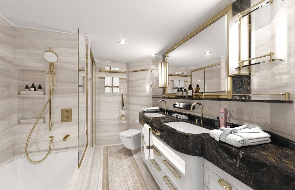 Bathrooms in Concierge and Superior Suites on Seven Seas Splendor