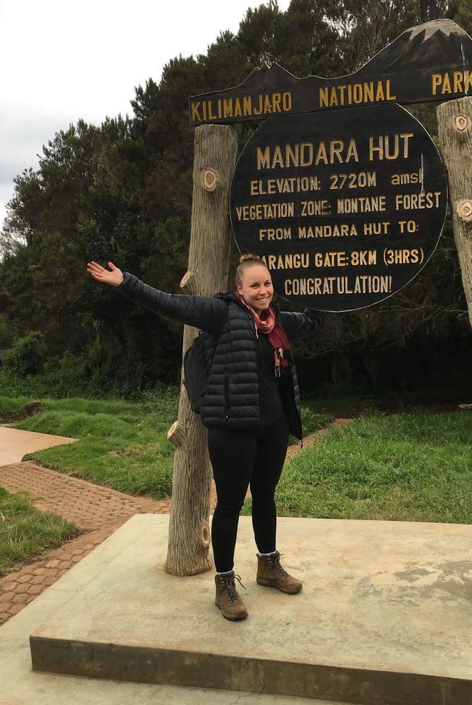 Saija Kokkonen at Mandara Hut, Kilimanjaro