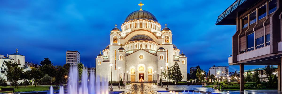Saint Sava temple with fountain in Belgrade, Serbia