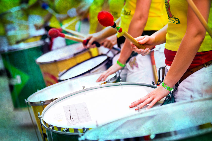 Samba drummers at Rio Carnival