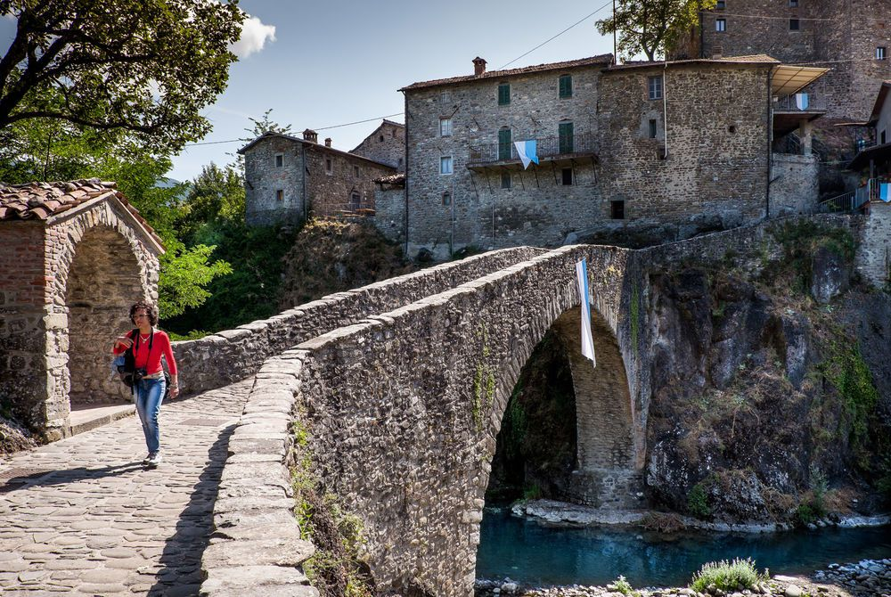 San Michele Medieval bridge, Piazza al Serchio, Garfagnana in Lucca, Italy