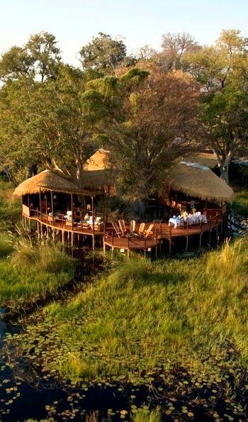 Aerial view, Sanctuary Baines' Camp, Okavango Delta, Botswana