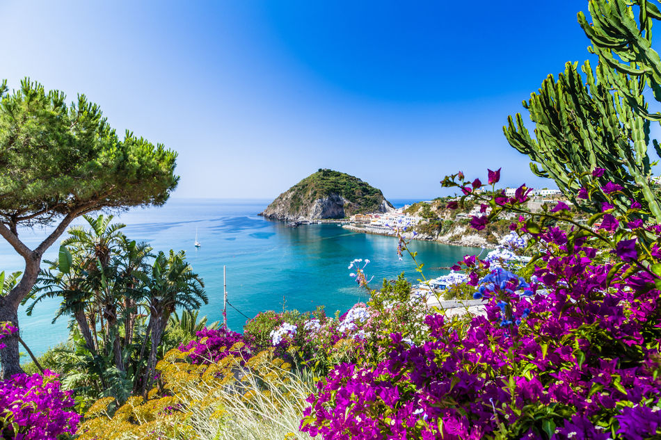 Beautiful view of Ischia's coast in Italy's Bay of Naples