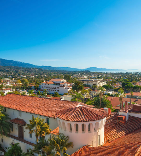 Santa Barbara, California - Court House Buildings, Orange Roofs and Pacific Ocean