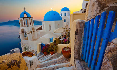 Santorini Sunset Pathway View