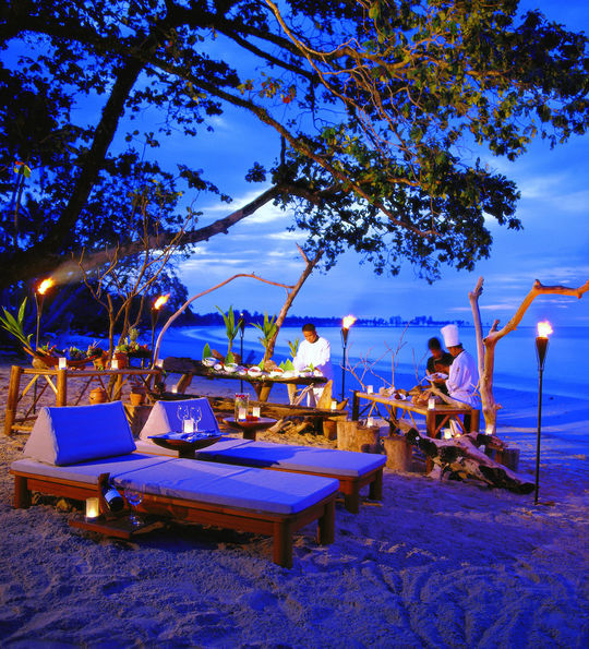 Beach dining at Sarojin, Khao Lak