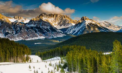 Scenic winter views of the Rocky Mountains, Peter Lougheed Provincial Park, Kananaskis Country Alberta Canada