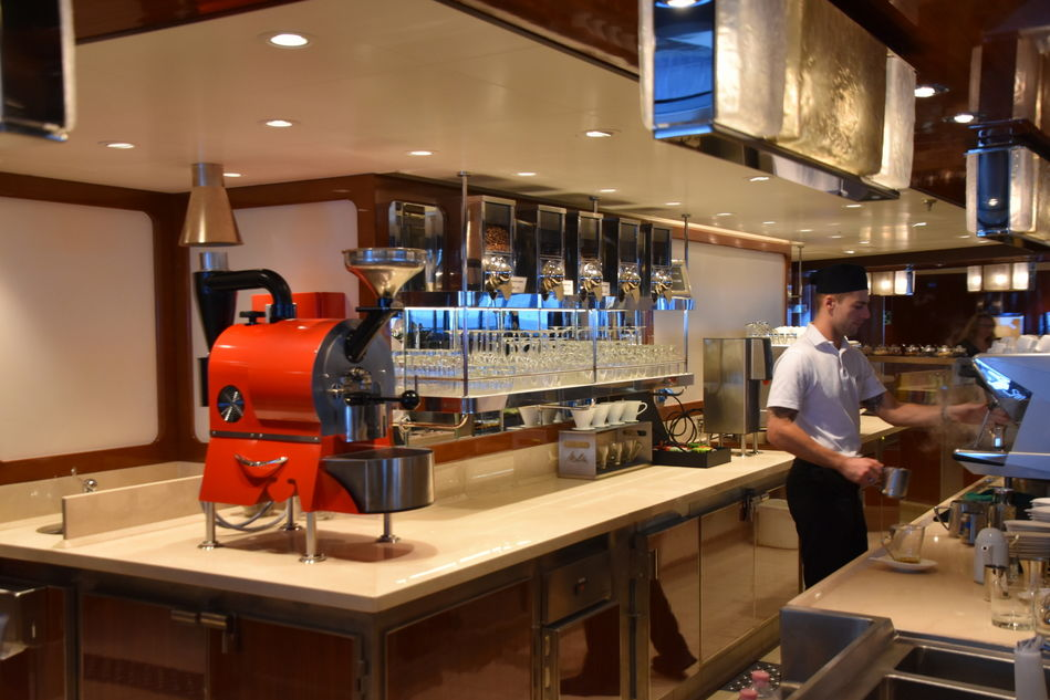 The red coffee roaster at Seabourn Square