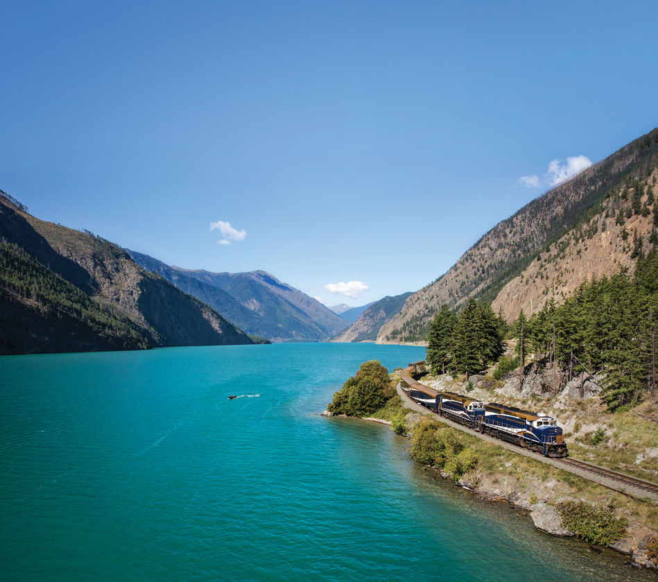 Passing Seton Lake on the Rocky Mountaineer