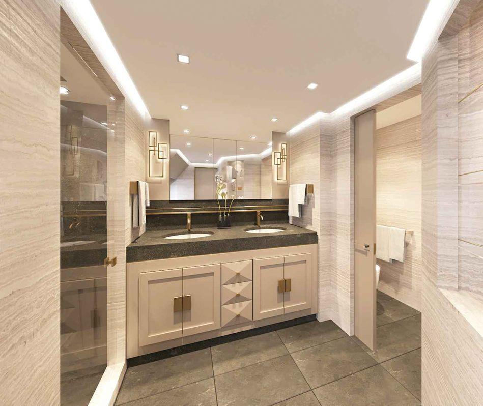 The marble bathroom of the Splendor Suite on Regent Cruises Seven Seas Splendor