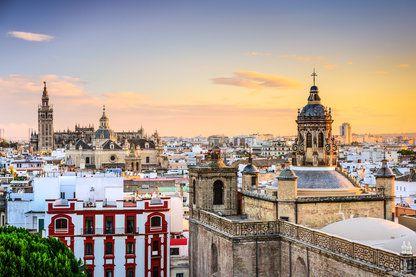 City skyline at dusk, Seville, Spain