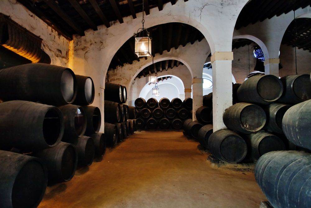 Sherry barrels in Jerez wine cellar