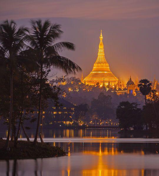 Shwedagon Pagoda in Yangon at night, Burma