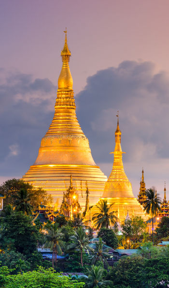 Shwedagon Pagoda in Yangon at night, Burma